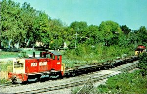 Postcard~Rock Island Railroad~EMD Switcher~Caboose~Vintage~A22