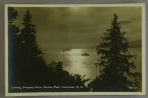 Evening Prospect Point Stanley park RPPC  BC mid 20th C