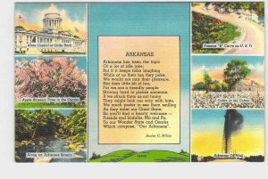 PPC POSTCARD ARKANSAS MULTIVIEW STATE CAPITOL OIL WELL COTTON FIELD US 71 APPLE