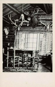 LP67  Cody Wyoming  RPPC Postcard  AUXU Ranch Cabin Dining Hall