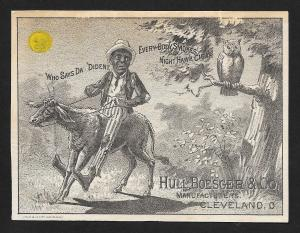 VICTORIAN TRADE CARD Hull Boesger Night Hawk Cigar Black Man on Donkey Owl Moon