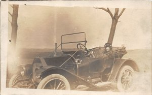 F79/ Interesting Real Photo RPPC Postcard c1910 Early Automobile Girl 13