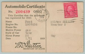 Columbus-Wooster OH~Sec of State Sutton~Milt Elliott~1919 Ford Tour Certificate