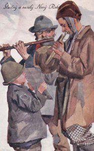 Stastny a vesely Novy Rok, Two men playing wind instruments, PU-1929