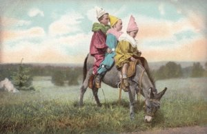 3 Clown dressed Children on a donkey , 00-10s