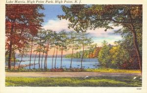 High Point New Jersey~Park~Lake Marcia, Mid-Autumn~1940s Postcard