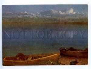 238944 Kyrgyzstan Issyk-Kul lake evening old postcard