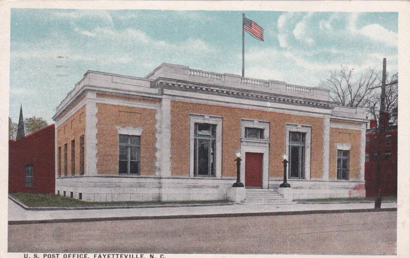 Fayetteville North Carolina Pu 1924 U S Post Office Hippostcard