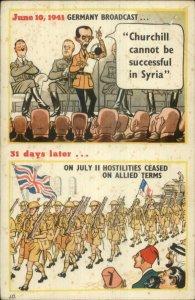 WWII Anti Hitler Anti Nazi Comic Satire Propaganda - Syria Postcard
