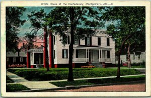 Vintage 1939 Montgomery, Alabama Postcard White House of the Confederacy Linen