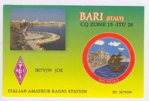 QSL radio postcard  Bari, Italy,  60-80s