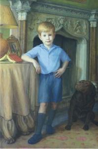 'Joseph' Rosemarie Timmis Artist Art Boy Child Dog Labrador Portrait Postcard C4