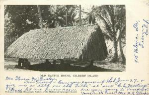 Postcard Old Native House Gilbert Islands Womans Foreign Missionary M.E. Church