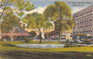 C16/ Fargo North Dakota ND Postcard Linen N.P Railroad Depot Front Street Stores