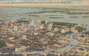 Florida Miami Downtown Showing Miami River and Biscayne Bay 1950 Curteich