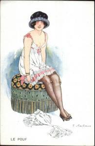 Sexy Semi Nude Woman LE POUF Fabiano French Glamour c1910 Postcard