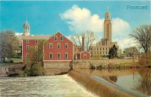 RI, Pawtucket, Rhode Island, Slater Mill and City Hall, Tichnor No. K-7266