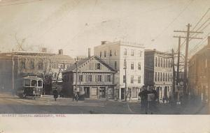 1906 Amesbury MA Market Square Storefronts Trolley Real Photo Postcard
