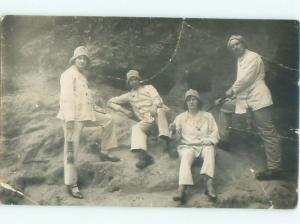 rppc 1920's PEOPLE HOLDING ANTIQUE KEROSENE LANTERNS AC8899