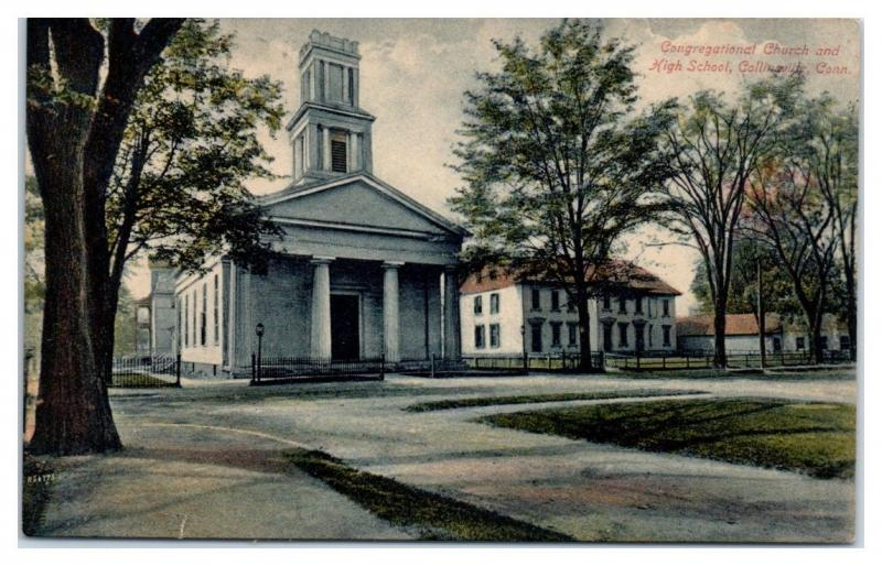 1909 Congregational Church and High School, Collinsville, CT Postcard