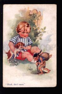 032056 Boy Dog PUPPY Angry GNOME Dwarf by BRISLEY Vintage PC