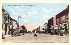 Blackwell OK Pool Hall~Lady Crosses Street~Bldgs w/Bay Windows 1920s Cars