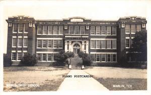 MARLIN, TEXAS MARLIN HIGH SCHOOL-1940 RPPC REAL PHOTO POSTCARD