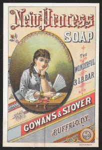 VICTORIAN TRADE CARD Gowans & Stover New Process Soap Pretty Woman w/Fan c1880s