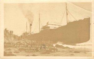 RPPC Tanker F.H. Buck On Rocks, Point Pinos, Monterey Bay 1924 Vintage Postcard