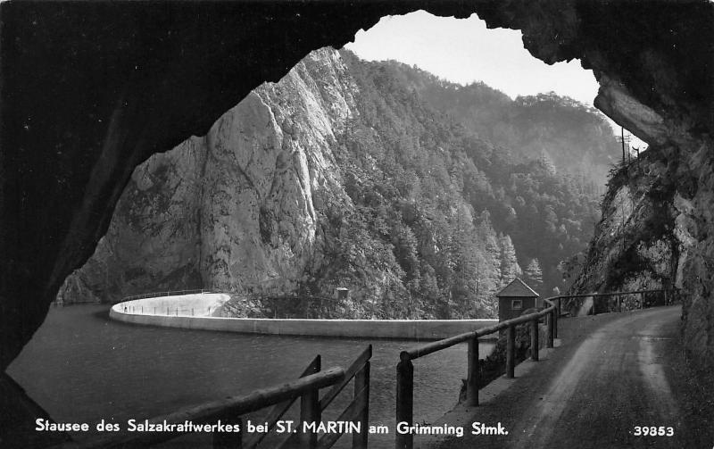 St Martin Am Grimming Austria~Artificial Lake Thru Tunnel~Postcard 1930s