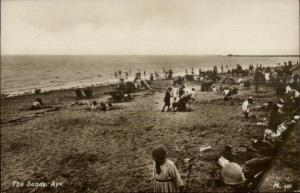 Ayr Scotland Beach Scene c1910 Real Photo Postcard