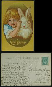 Easter  Young girl with Rabbit pmkd Mountain Ont 1909