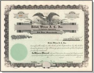 Polish Wilcox Club Stock Certificate, Fall River, Mass/MA