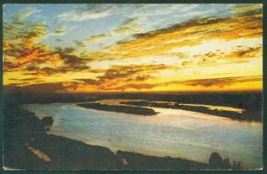 Sunset COLUMBIA RIVER Crown Point Oregon Postcard