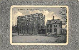 Cambridge MA Sargent School & Jarvis Field House Postcard