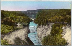Letchworth S.P. NY Postcard Middle Falls from Inspiration Point Hand-Colored