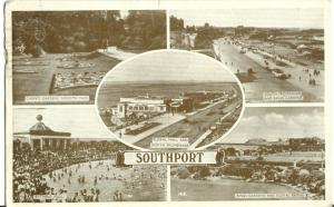 United Kingdom, Southport multi view, 1950 used Postcard