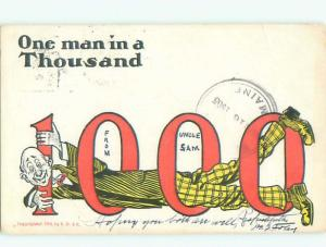 Pre-Linen Comic THE NUMBER 1000 WITH THE MAN THROUGH IT AB9003