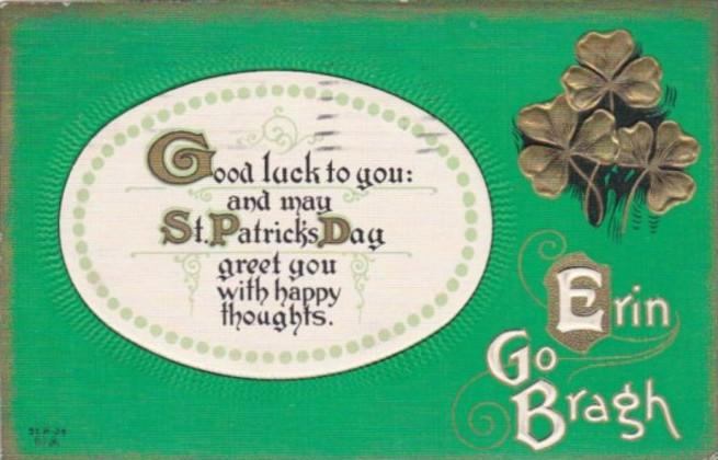 Saint Patrick's Day With Shamrocks 1914