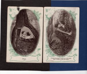 Romantic Couples Kissing Among Trees Vtg / Antique Decorative Postcards