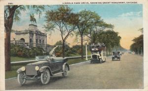 CHICAGO, Illinois, PU-1922; Lincoln Park Drive, Showing Grant Monument
