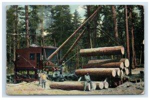 1909 Loading Washington Timber Postcard Logging Loggers Machinery