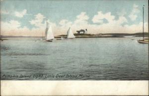 Pumpkin Island Little Deer Island ME Lighthouse c1910 Postcard