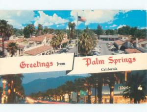 Pre-1980 GREETINGS FROM - SHOPS ALONG THE STREET Palm Springs CA E7181