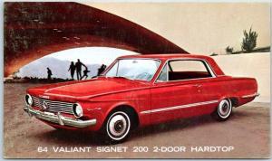 1964 PLYMOUTH VALIANT SIGNET Automobile Postcard 2-Door Hardtop Red Car Unused