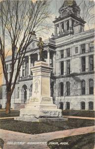 Ionia Michigan~Soldiers Civil War Monument @ Courty Court House~1914 Postcard