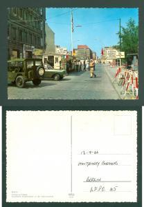 USA, Germany. Berlin.Postcard 1966 Checkpoint Charlie Adr: BFPO. H5