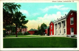 Vtg Postcard Jacksonville Illinois IL - Illinois College Curteich Unposted