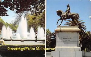 Melbourne Australia Fountain & Edward VII Statue, Botanical Gardens Melbourne...