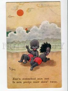 264891 BLACK AMERICANA Kids on Beach by FG LEWIN vintage PC